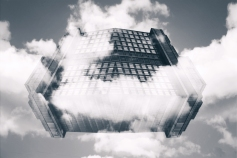 Descending through clouds